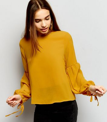 Yellow Tie Bell Sleeve Top