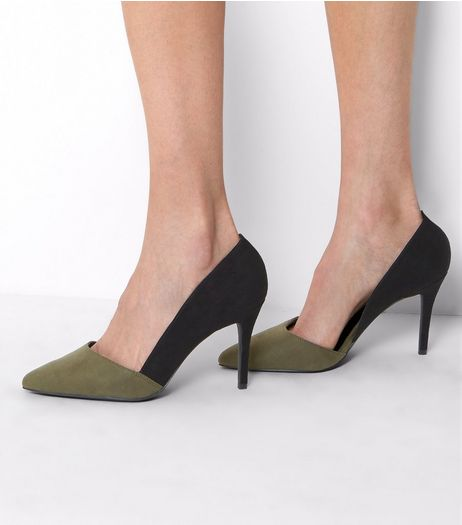 Khaki Contrast Cut Out Side Pointed Court Shoes | New Look
