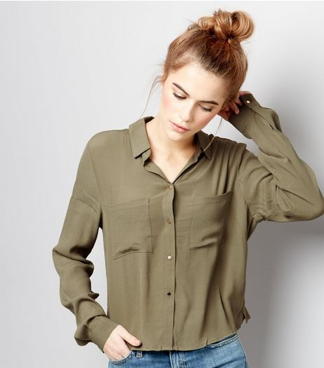 Khaki Long Sleeve Cropped Shirt  | New Look