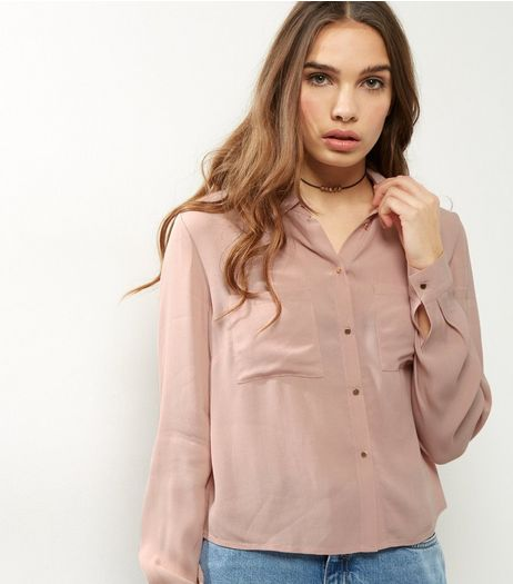 Shell Pink Cropped Shirt | New Look