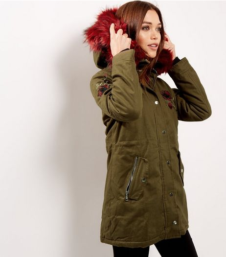 Blue Vanilla Khaki Rose Embroidered Faux Fur Parka | New Look