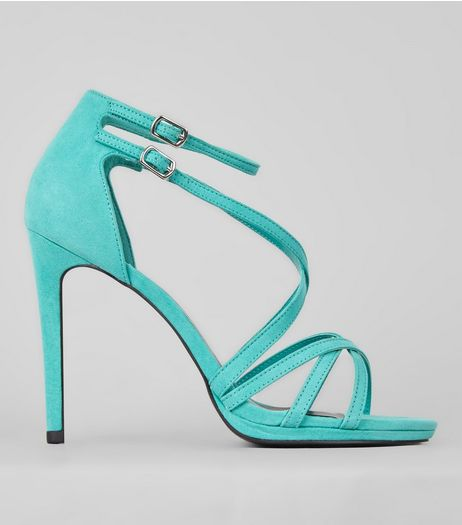 Green Suedette Cross Strap Heeled Sandals | New Look