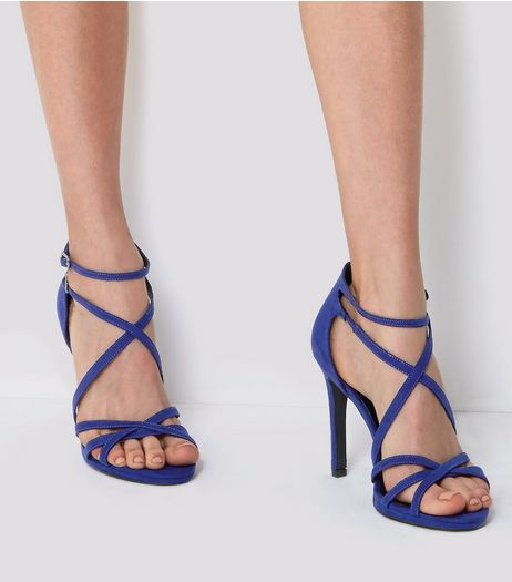 Blue Double Ankle Strap Heeled Sandals | New Look