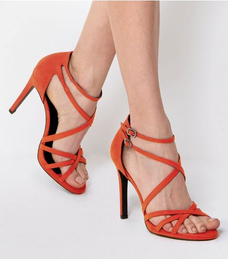 Orange Double Ankle Strap Heeled Sandals | New Look