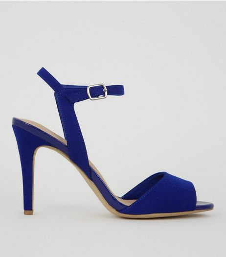 Blue Comfort Suedette Ankle Strap Heels | New Look