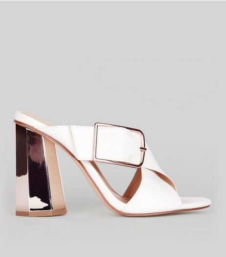 White Contrast Flared Metal Heeled Mules | New Look