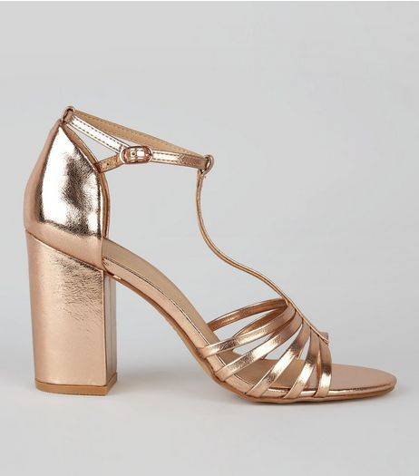 Rose Gold Metallic Multi Strap Heeled Sandals | New Look