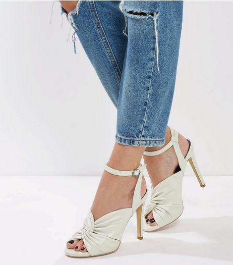 White Knot Front Ankle Strap Heels | New Look