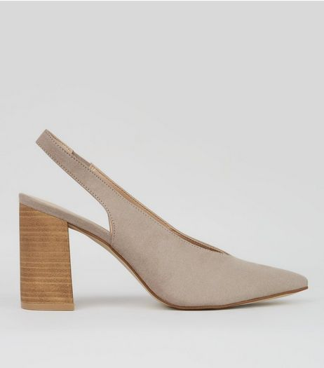 Grey Suedette Pointed Sling Back Heels | New Look