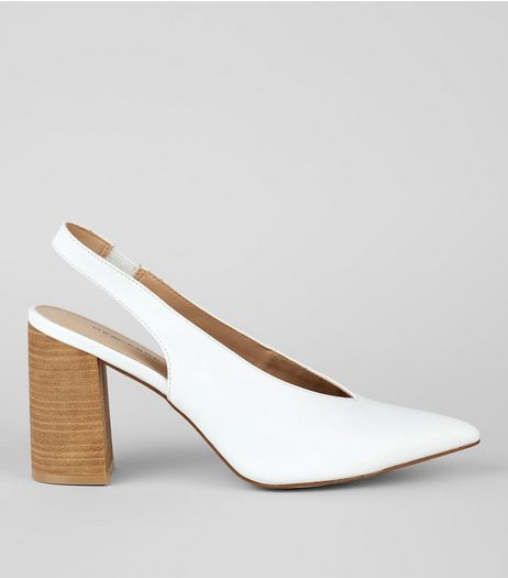 White Pointed V Throat Sling Back Heels | New Look