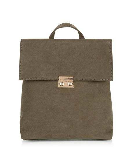 Khaki Suedette Fold Over Mini Backpack  | New Look