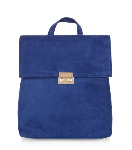 Navy Suedette Fold Over Mini Backpack | New Look