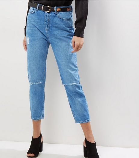 Blue High Waist Ripped Belted Mom Jeans  | New Look