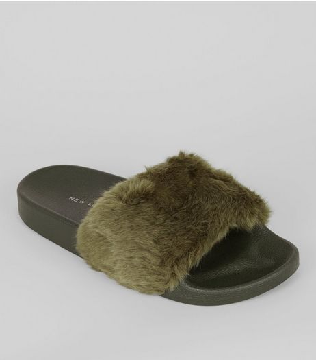 Khaki Faux Fur Sliders Slippers | New Look