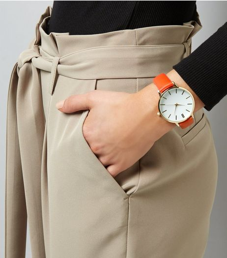 Orange Leather-Look Strap Watch | New Look