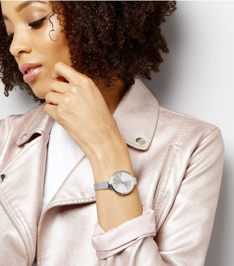 Silver Mesh Skinny Strap Diamante Watch | New Look