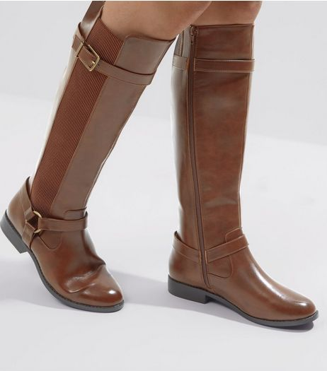 Wide Fit Tan Stirrup Knee High Boots | New Look