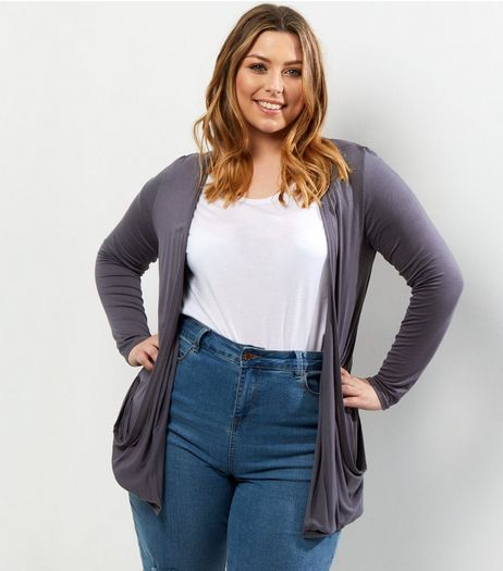 Curves Grey Boyfriend Cardigan | New Look