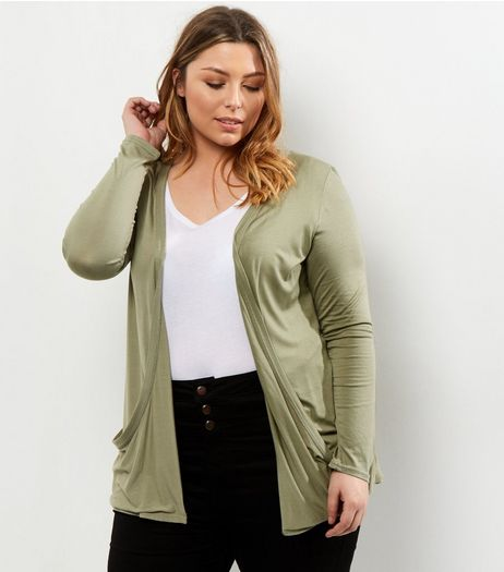 Curves Khaki Boyfriend Cardigan | New Look