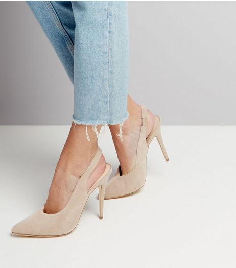 Cream Suede Pointed Slingback Heels | New Look