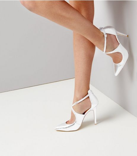 Silver Cross Front Ankle Strap Heels | New Look
