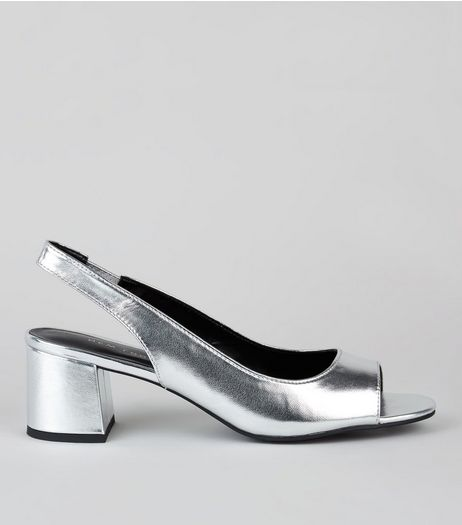 Silver Peep Toe Sling Back Heels | New Look
