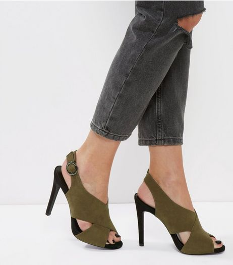 Khaki Suedette Cross Front Heeled Sandals | New Look
