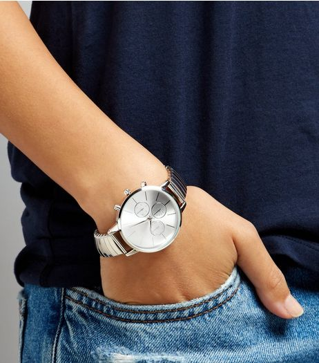 Silver Stretch Watch | New Look