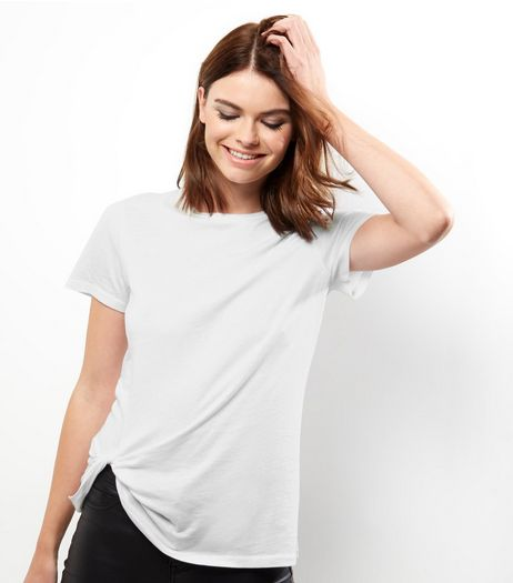 White Twist Front T-Shirt | New Look