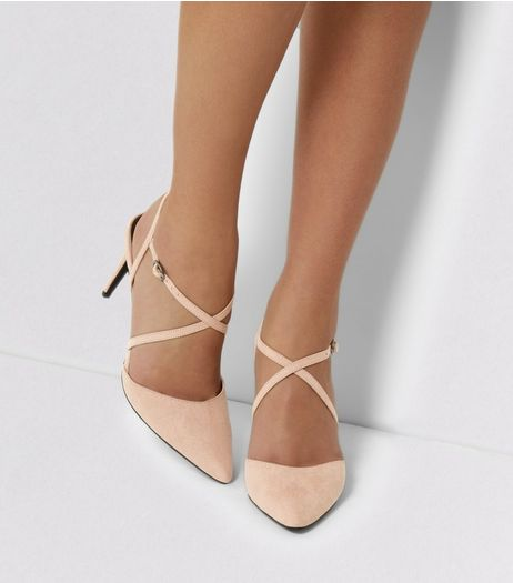 Pink Suedette Cross Strap Heeled Sandals | New Look