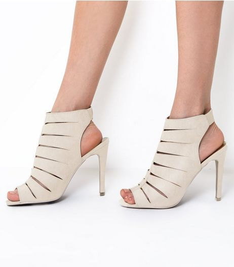 Wide Fit Grey Wide Cage Front Heels | New Look