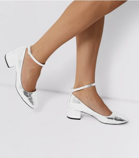 Silver Ankle Strap Mini Block Heels | New Look