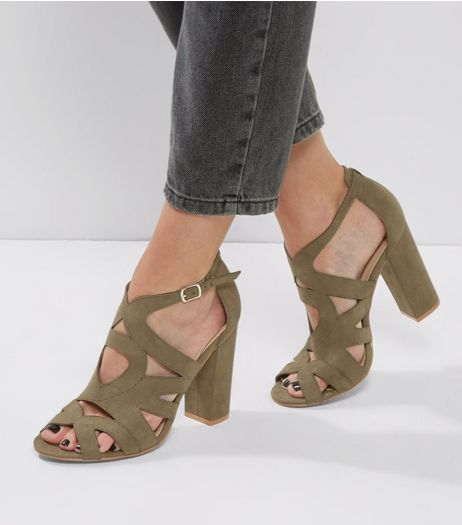 Khaki Suedette Cut Out Peep Toe Block Heels | New Look