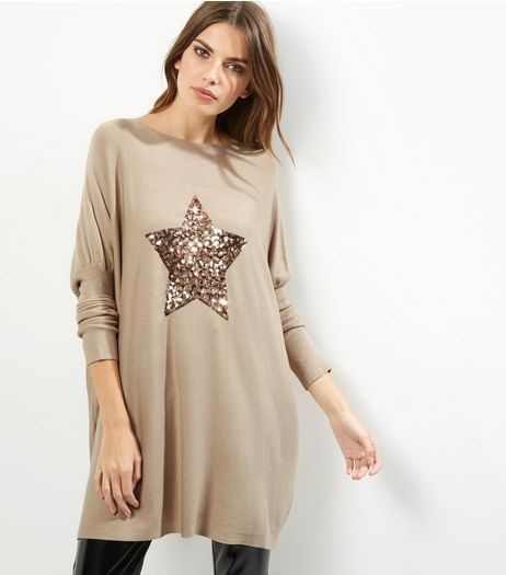 QED Cream Sequin Star Longline Jumper | New Look
