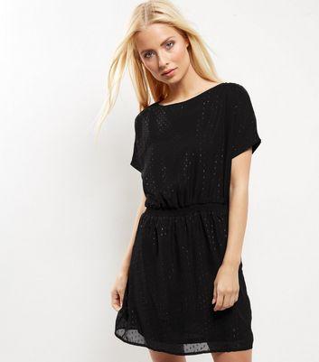 Product photo of Qed black metallic dot mesh dress
