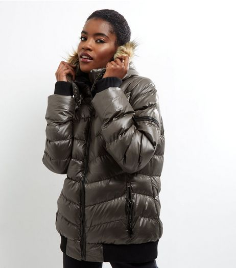 QED Khaki Faux Fur Lined Padded Jacket | New Look