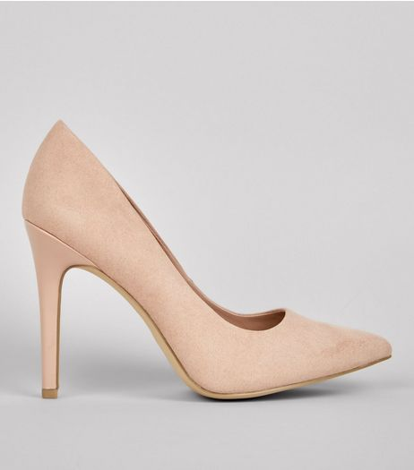 Wide Fit Nude Suedette Pointed Court Shoes | New Look