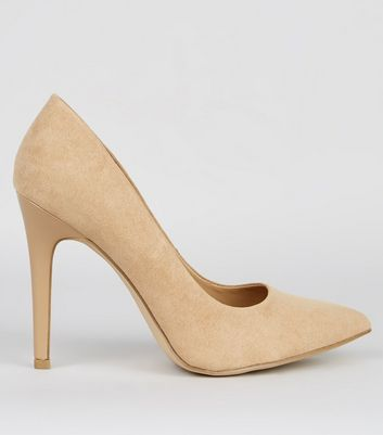 Wide Fit Cream Suedette Pointed Court Shoes | New Look