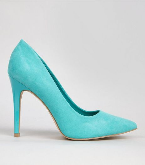 Wide Fit Green Suedette Pointed Court Shoes | New Look
