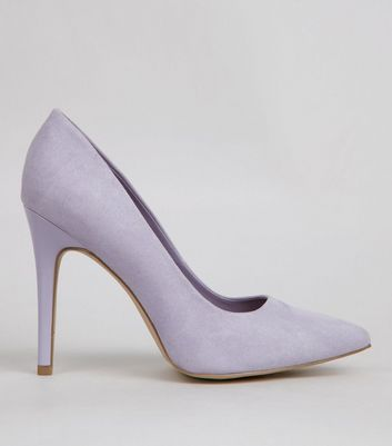 Wide Fit Lilac Suedette Pointed Court Shoes | New Look