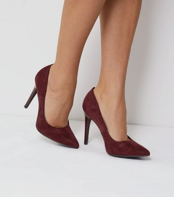 Wide Fit Purple Suedette Pointed Court Shoes | New Look