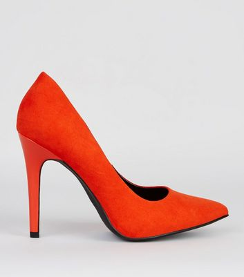 Wide Fit Orange Suedette Pointed Court Shoes | New Look