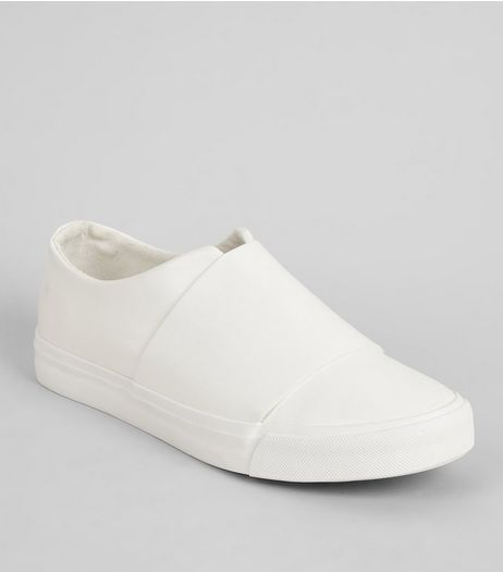 White Split Front Slip-On Trainers | New Look