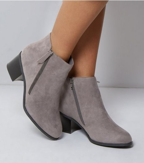 Wide Fit Grey Comfort Suedette Side Zip Boots | New Look