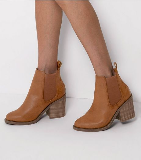Wide Fit Tan Block Heel Chelsea Boots  | New Look