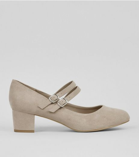 Extra Wide Fit Grey Suedette Double Cross Strap Court Shoes | New Look