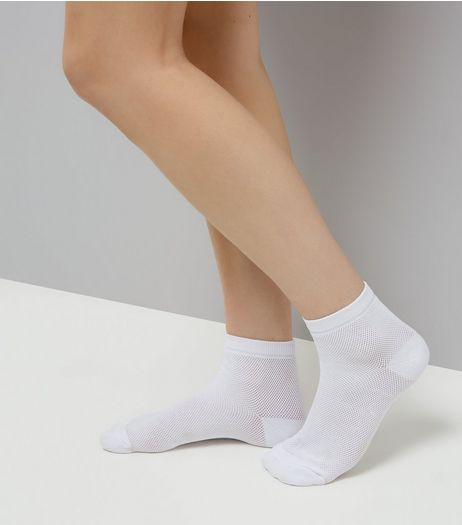 White Mesh Ankle Socks | New Look