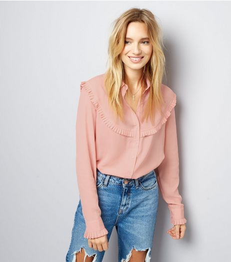 Shell Pink Frill Trim Long Sleeve Shirt  | New Look