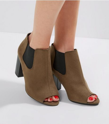 Wide Fit Khaki Comfort Suedette Open Toe Shoe Boots | New Look
