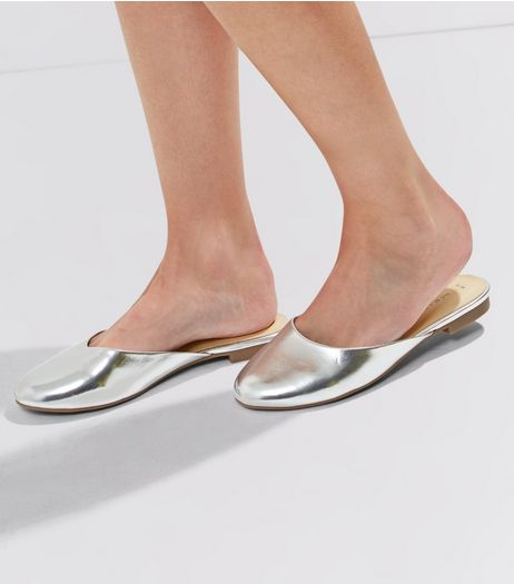 Silver Metallic Mules | New Look